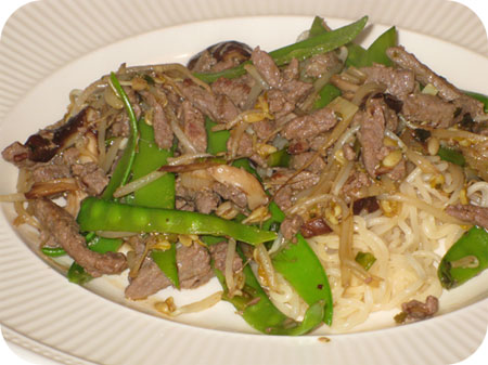 Noodles with Beef and Snow Peas