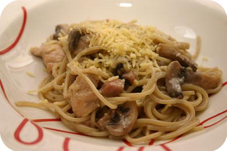 Spaghetti met Kipfilet en Champignons