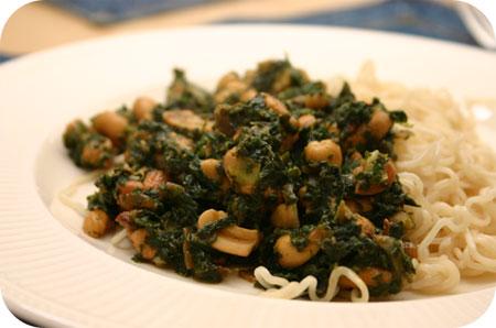 Noodles met Kipfilet en Spinazie
