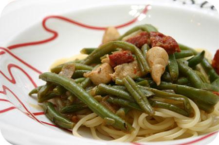 Spaghetti met Sperziebonen met Kipfilet en Chorizo