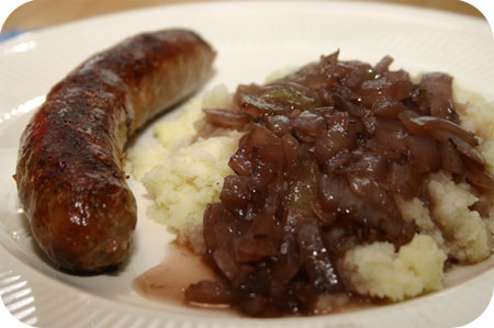 Bangers 'n Mash with Red Wine-Onion Gravy