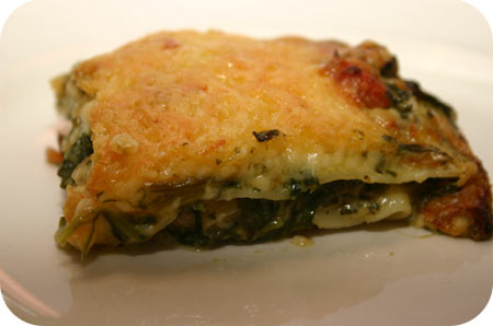 Lasagne with Spinach, Mushrooms and Mascarpone