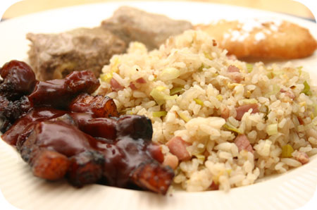 Nasi Keboeli with Babi Pangang and frikadel pan