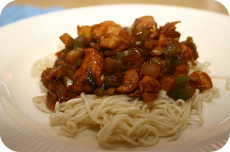 Noodles with Chicken Breast and Peppers