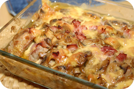 Pork Roullade with Ham, Cheese and Mushroom Sauce