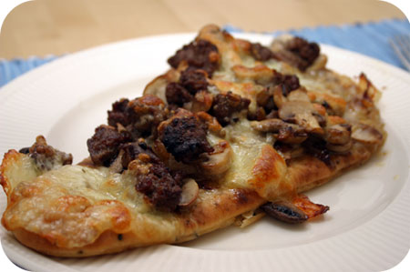 Naan Pizza with Sausage and Mushrooms