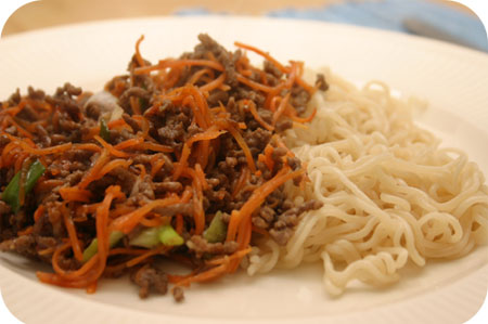 Noodles with Minced Beef, Carrots and Spring Onion