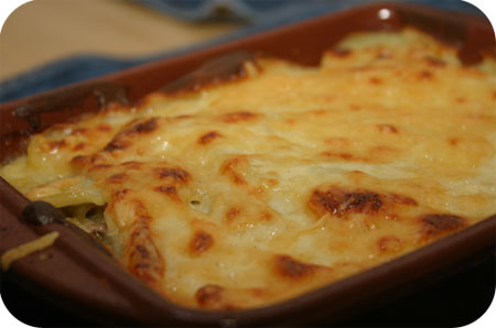 Potato Lasagne with Green Beans, Ham and Cheese Sauce