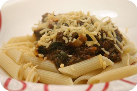 Pasta with Spinach Tomato Sauce