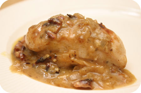 Chicken Breats with Cheese Onion Sauce and Bacon