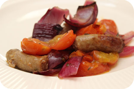 Roasted Sausages with Red Onions and Cherry Tomatoes