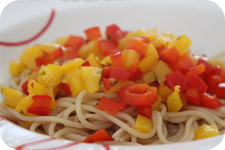 Spaghetti with Red and Yellow Peppers