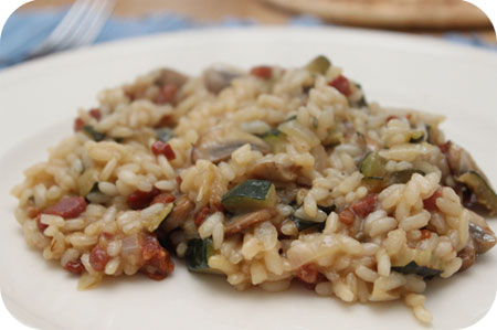 Risotto with Bacon, Mushrooms and Zucchini