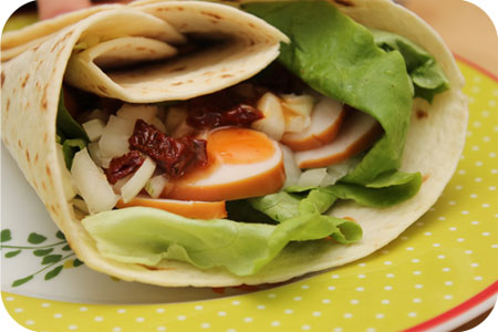 Wraps with Smoked  Chicken and Sundried Tomatoes