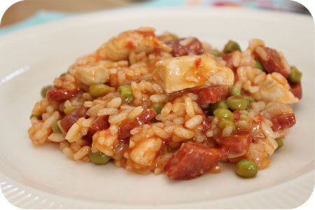 Paella with Chicken, Chorizo and Peas