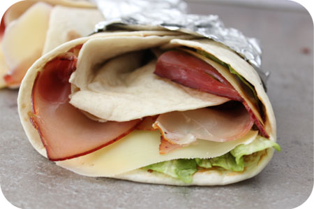 Wraps met Kaas, Gerookte Ham en Appelstroop