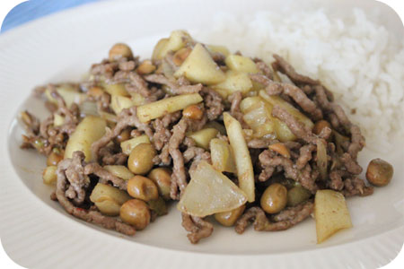 Rice with Marrowfat Peas, Apples and Minced Beef