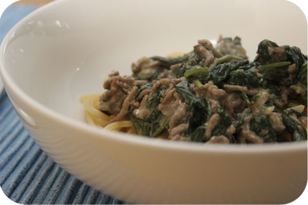 Spaghatti with Spinach, Minced Beef and Cream Cheese