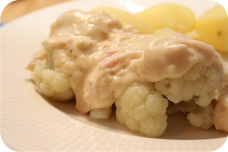 Cauliflower with Chicken Cheese Sauce