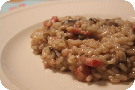 Risotto with Mushrooms, Bacon and Dark Beer