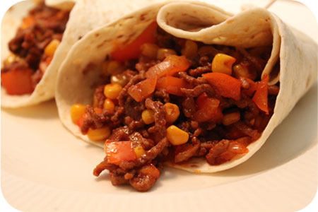 Wraps with Minced Beef, Corn and Syrup