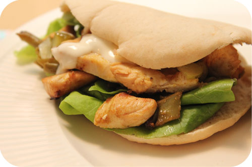 Chicken shawarma sandwich with green beans