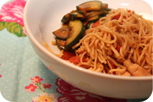 Noodles with Chicken and Sweet & Sour Cucumber