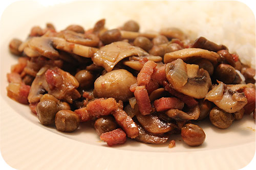 Rice with Marrowfat Peas, Mushrooms and Bacon