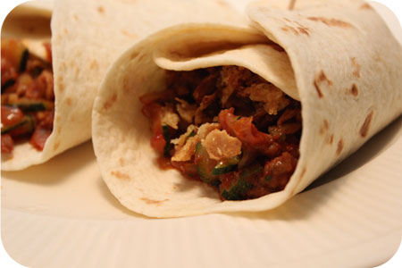 Wraps with Zucchini and Meat in Sweet Sauce