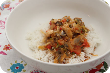Thaise Curry met Kipfilet, Champignons en Paprika