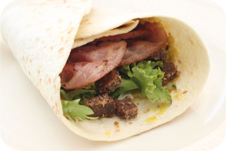 Wraps with Pickles, Bacon and Rye Bread