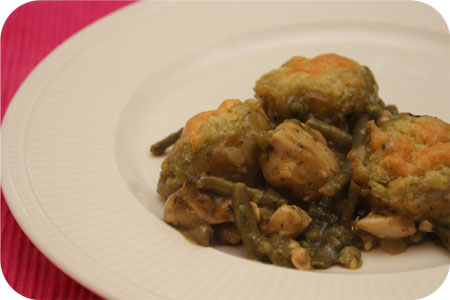 Chicken in Pesto Sauce with Dumplings