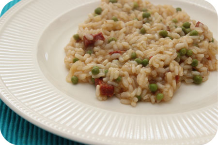 Risotto with Chorizo and Peas