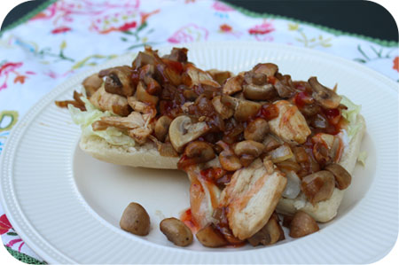 Ciabatta with Chicken, Mushrooms and Sweet Chili Sauce