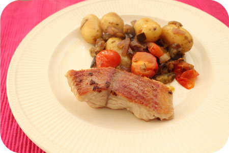 Fried Catfish with Potato-Vegetable Dish