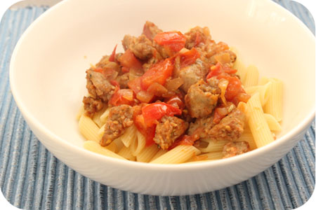 Penne with Sausages and Tomato